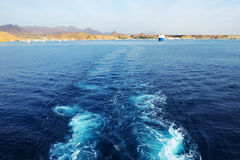 The view on Sharm el Sheikh harbor from yacht Royalty Free Stock Images