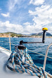 View sheet winches on the boat on the background of the coastline Royalty Free Stock Photos