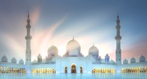 Sheikh Zayed Grand Mosque at sunset Abu-Dhabi, UAE Stock Photography