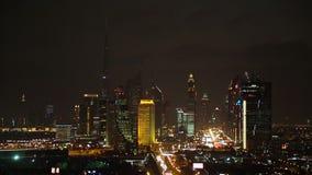 View of Sheikh Zayed Road skyline at dusk Dubai stock video