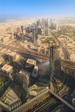 View at Sheikh Zayed Road skyscrapers royalty free stock images