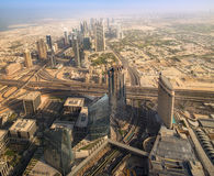 View at Sheikh Zayed Road skyscrapers stock photo