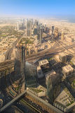 View at Sheikh Zayed Road skyscrapers stock image