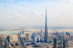 View at Sheikh Zayed Road skyscrapers in Dubai Stock Images
