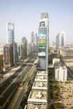 View of Sheikh Zayed Road skyscrapers in Dubai, UAE Royalty Free Stock Image