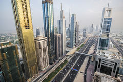 View of Sheikh Zayed Road skyscrapers in Dubai, UAE Stock Image