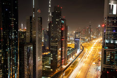 View of Sheikh Zayed Road skyscrapers in Dubai, UAE Stock Photos