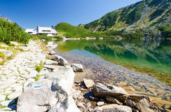 View on shelter in 5 polish lakes valley in Tatra mountains, Poland stock images