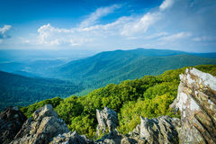 View of the Shenandoah Valley and Blue Ridge from Hawksbill Summit, in Shenandoah National Park, Virginia. stock photography