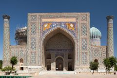 View of Sher-Dor Madrasa. Front view of Sher-Dor Madrasa from Registan Square, Samarkand, Uzbekistan Stock Images