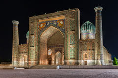 View of Sher-Dor Madrasah in Samarkand, Uzbekistan Stock Photography