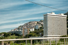 A view on Sheraton hotel and favela in RJ Royalty Free Stock Image