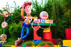 View of Sheriff Woody in Toy Story Land main entrance in Hollywood Studios at Walt Disney World area. Orlando, Florida. March 29, 2019.  View of Sheriff Woody in royalty free stock photos
