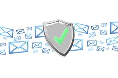 Shield symbol surrounded by mail isolated on a color background Royalty Free Stock Photography