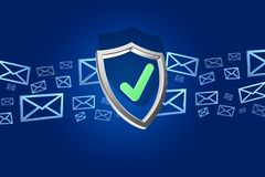 Shield symbol surrounded by mail isolated on a color background Stock Photo