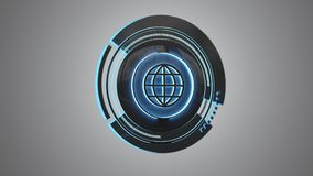 Shinny technologic globe button isolated on an uniform backgroun. View of a Shinny technologic globe button isolated on an uniform background - 3d render Royalty Free Stock Photo