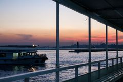 View from the ship on sunset in the Bosphorus. Istanbul, Turkey royalty free stock photo