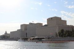 View from the ship on the building of the Government of the Russian Federation in the city of Moscow. In the summer. 2017 year stock images