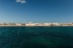 The view from the ship on the coast of Mahdia. Tunisia Royalty Free Stock Photos