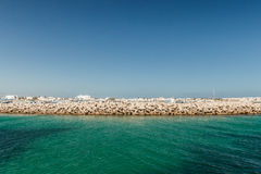 The view from the ship on the coast of Mahdia. Tunisia Royalty Free Stock Photo