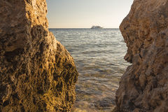 View of the ship at evening sea Royalty Free Stock Images