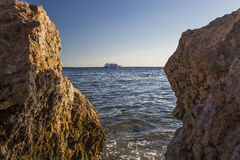 View of the ship floating by sea Stock Photo