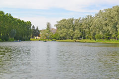 View of the Ship pond in the Moscow Victory park. St. Petersburg Stock Photography