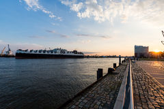 View of a ship in the Port of Hamburg and the Elbe Royalty Free Stock Photography
