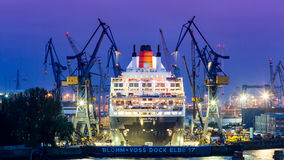 View of a ship in the Port of Hamburg and the Elbe Stock Photos