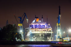 View of a ship in the Port of Hamburg and the Elbe Stock Images