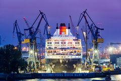 View of a ship in the Port of Hamburg and the Elbe Stock Image