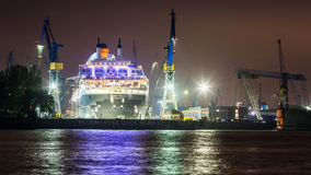View of a ship in the Port of Hamburg and the Elbe Royalty Free Stock Photo