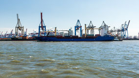 View of a ship in the Port of Hamburg and the Elbe Stock Photography