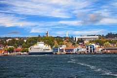 Port of Moss. View from ship on port Moss in Norway Stock Image
