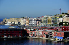 View from a ship in the port of Naples Stock Photos