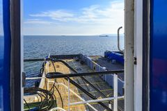View of the ship`s deck from the captain`s cabin. Transport Stock Photos