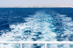 View of ship`s wake from boat Royalty Free Stock Images