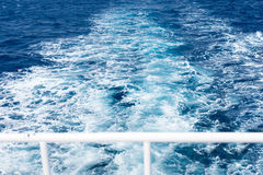 View of ship`s wake from the yacht Royalty Free Stock Photography