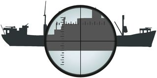 View at ship silhouette thru periscope Royalty Free Stock Image
