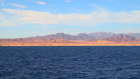 View from the ship to the mountains of the Sinai peninsula stock video footage