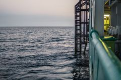 View from ship or vessel deck to open sea - heavy duty work at sea.  stock image