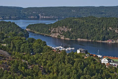 View of the shipping lane to the port of halden Stock Photo