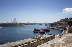 View of ships and Valletta city in Malta. Stock Images