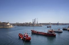 View of ships and Valletta city in Malta. Mediterranean sea and sunny summer day Stock Photography