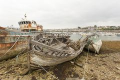 View of Shipwrecks, in Camaret-Sur-Mer. Camaret-Sur-Mer, France - August 17, 2016: View of Shipwrecks, in Camaret-Sur-Mer, Brittany, France Stock Photos
