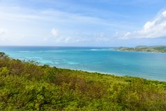 View from Shirley Heights to the coast of Antigua, paradise bay at tropical island in the Caribbean Sea stock images