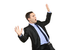 A view of a shocked young businessman Stock Photos