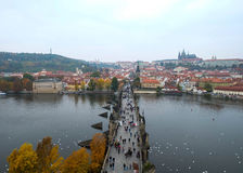 View shooting from Charles Bridge of New town side Stock Photo