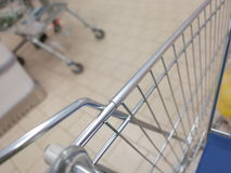 View of a shopping cart with grocery items Royalty Free Stock Images
