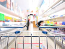 View of a shopping cart at supermarket Stock Images